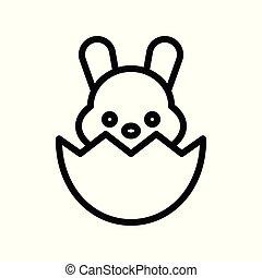 coquille oeuf, editable, coup, vecteur, ligne, lapin pâques, icône