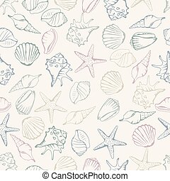 coquille, pattern., seamless, illustration, vecteur, mer