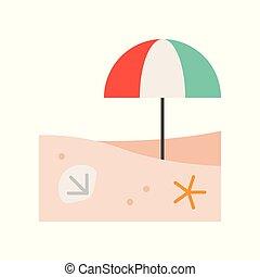 coquille plage, parapluie, scène, etoile mer