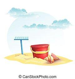 coquille, râteau, seau, illustration, enfants, sable