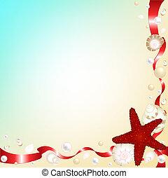 coquilles, arrière-plan rouge, rubans