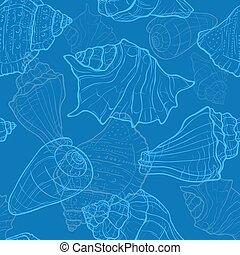 coquilles, modèle, seamless, main, mer, dessiné