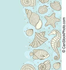 coquilles, modèle, seamless, océan
