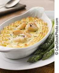 Coquilles St Jacques Mornay with Pomme Puree