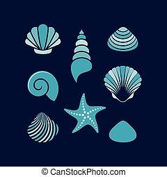 coquilles, vecteur, simple, coloré, etoile mer, mer