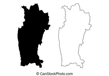 Coquimbo Region (Republic of Chile, Administrative divisions of Chile) map vector illustration, scribble sketch Coquimbo map