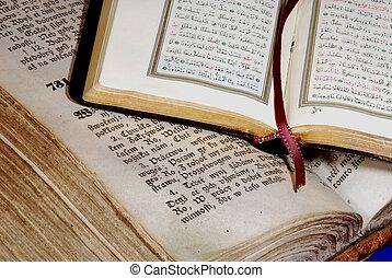 corán, antiguo, biblia