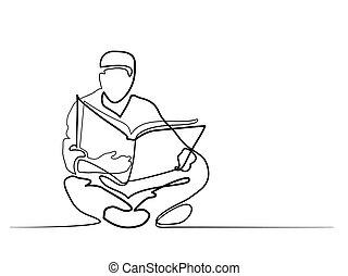 corán, lectura, fez, hombre