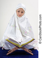 corán, musulmán, lectura, mujeres