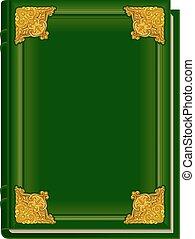 corán, viejo, libro, verde