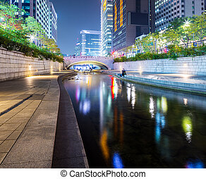 corée, cheonggyecheon, sud, ruisseau