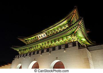 corée, coup, palais, séoul, -, gyeongbokgung, république, nuit, portail, principal