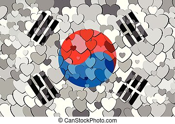corée, drapeau, fait, fond, cœurs, sud