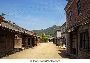 corée, film, parc, traditionnel, thème, village, sud