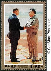 corée, nord, timbre, -, visite, 2000, jong, imprimé, kim, putin, président, russie, environ, spectacles, 2000:, il
