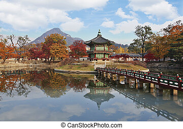 corée, palais, gyeongbokgung, paysage automne, sud