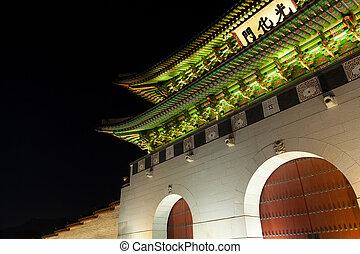 corée, palais, séoul, -, gyeongbokgung, nuit, portail, sud
