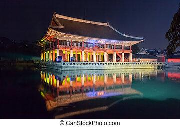 corée, palais, séoul, -, gyeongbokgung, république, nuit, gyeonghoeru