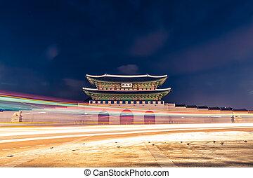 corée, palais, séoul, -, gyeongbokgung, république, nuit, portail