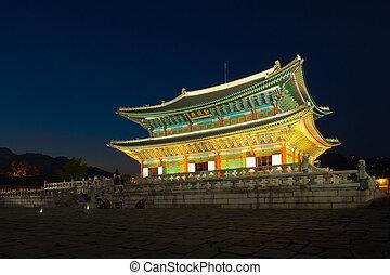corée, palais, séoul, -, gyeongbokgung, république, nuit, principal