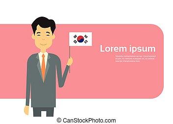 corée, prise, business, espace, drapeau, asiatique, homme affaires, coréen, copie, bannière, sud, homme