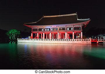 corée, séoul, palais, -, gyeongbokgung, république, nuit, gyeonghoeru