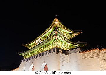 corée, séoul, palais, -, gyeongbokgung, république, nuit, portail, ville