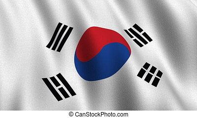 corée, sud, drapeau, seamless, boucle