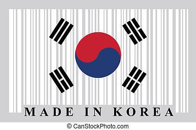 coréen, barcode, drapeau