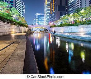 coréia, cheonggyecheon, sul, fluxo
