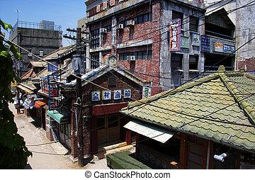 coréia, filme, parque, tradicional, tema, vila, sul