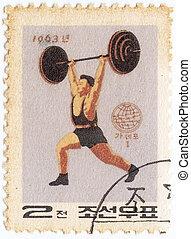 coréia, norte, peso, selo, circa, -, 1963, república,...