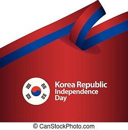 coréia, república, dia independência, vetorial, modelo,...