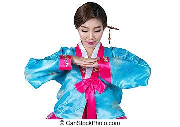coréia, senhora, original, saudação, isolado, fundo, ação, vestido branco, coreano