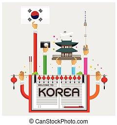coréia, seul, bem-vindo, mão, lâmpada, vetorial, braço, cozy