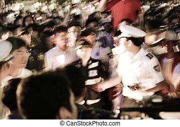 coréia, seul, multidões, praça, rally, demonstração, sul
