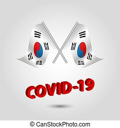 coréia sul, coreano, covid-19, vermelho, cruzado, dois, ícone, texto, bandeiras, 3d, waving, título, jogo, -, coronavirus, prata, vetorial, polaco