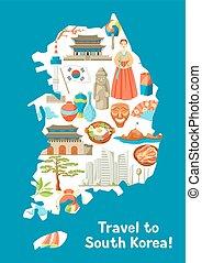 coréia sul, mapa, design., coreano, tradicional, símbolos,...
