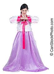 coréia, vestido, saudação, ação, coreano, senhora, original