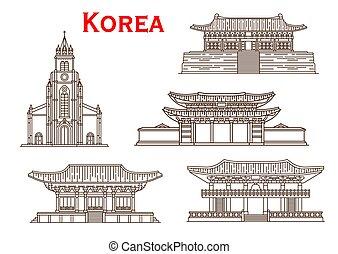 coréia, vetorial, magra, fachadas, linha, ícones, arquitetura
