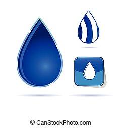 cor água, gota, vetorial