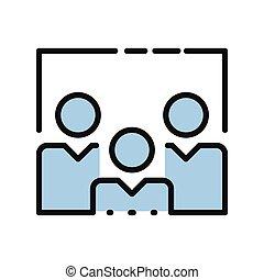cor, ícone, pessoal, agrupar