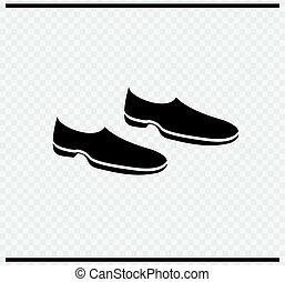 cor, ícone, pretas, sapatos, transparente
