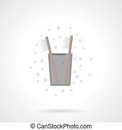 cor, ícone, vetorial, apartamento, dentes, higiene
