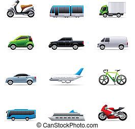 cor, ícones, -, transporte