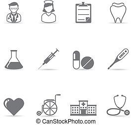 cor, único, -, ícones médicos