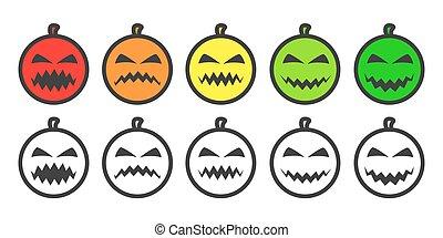 cor, abóbora, emoji, dia das bruxas, ícones