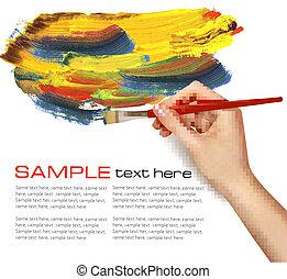 cor, abstratos, fundo, mão