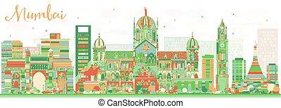 cor, abstratos, skyline, landmarks., mumbai