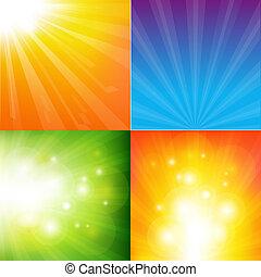cor, abstratos, sunburst, fundo